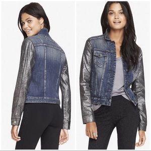 Express Distressed Denim & Metallic Jean Jacket